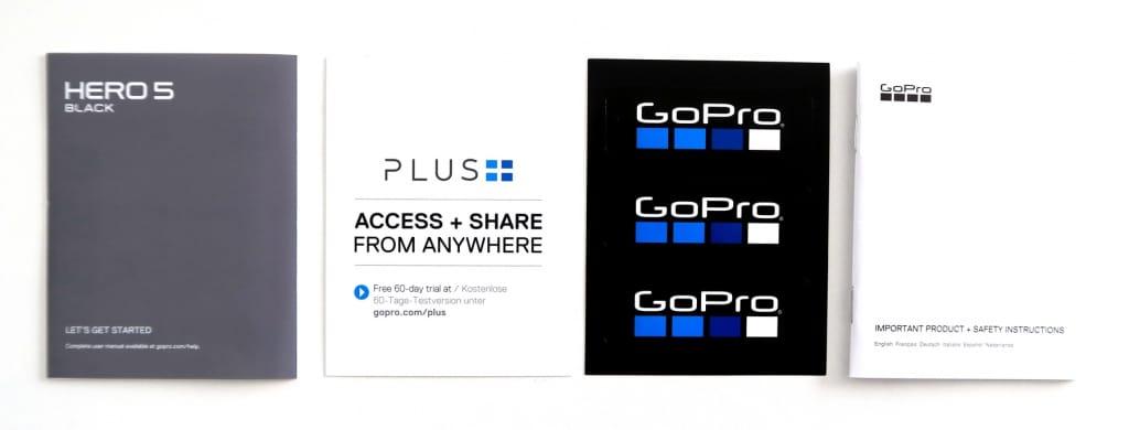 GoPro Hero5 Black Bedienungsanleitung, Aufkleber, Schnellstart, GoPro Plus
