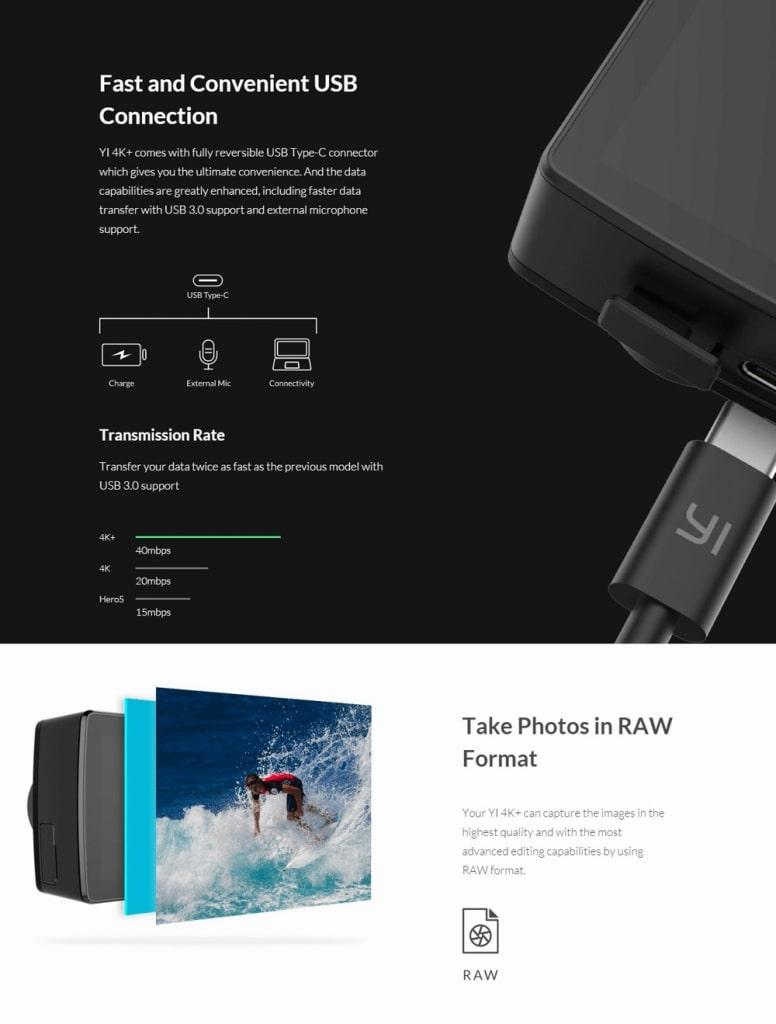 Xiaomi YI 4K Plus Acktionkamera USB-C Anschluss